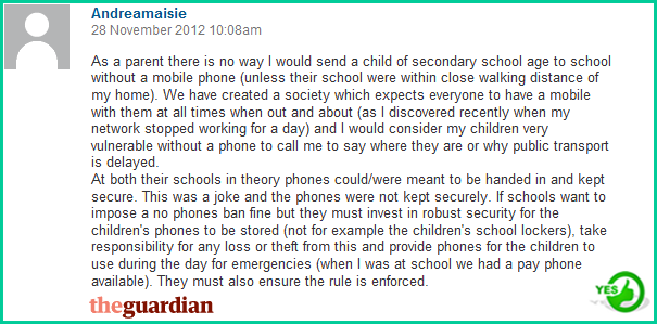 Mobile phones should not be banned in schools debate