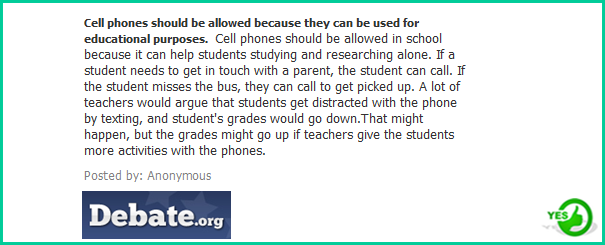 should students be allowed to use Student's shouldn't be allowed to bring their cell phones to school  student's should allowed to bring cellphones in school because for example if there is a.