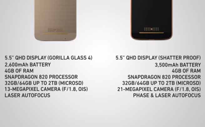 Moto Z vs. Moto Z Force specification comparison
