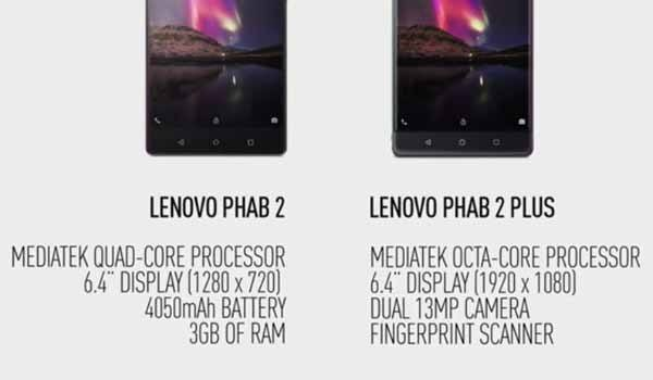 Lenovo Phab 2 and Phab 2 Plus specs