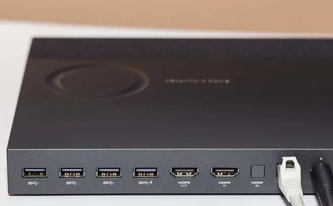 HP Envy Curved 34 base with ports and touch control